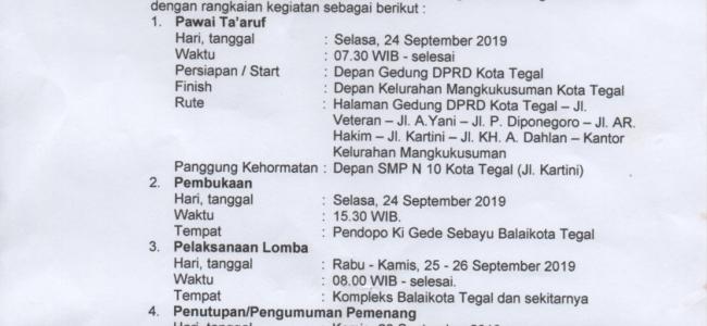 Jadwal Penyelenggaraan MTQ Pelajar dan Umum Tingkat Kota Tegal 2019
